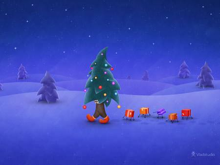 The Traveling Christmas Tree - Wallpapers de Natal Fantásticos
