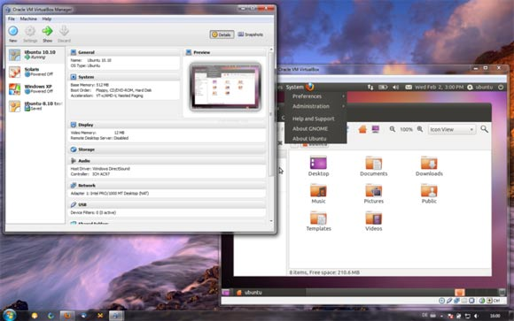 VirtualBox Windows 7, com o Ubuntu virtualizado