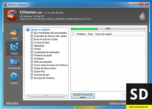 CCleaner - Limpar registo do Windows
