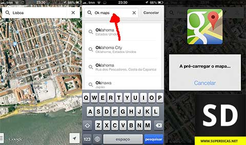 Guardar os Mapas do Google Maps no iPhone